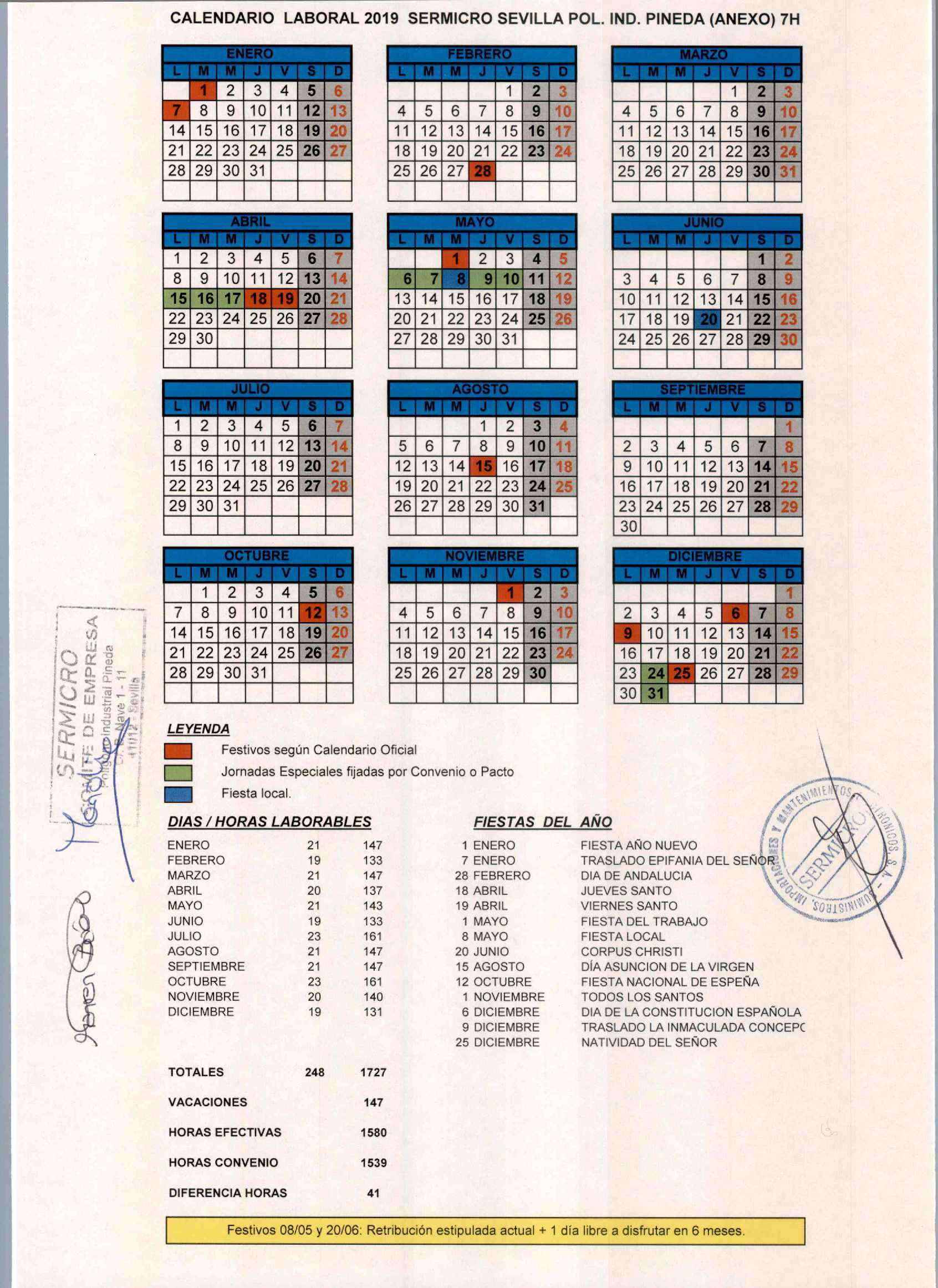 Calendario Sermicro Anexo 7H 2019